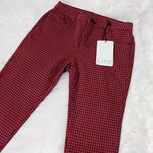 New LITZ Red Black Skinny Pants Herringbone Plaid